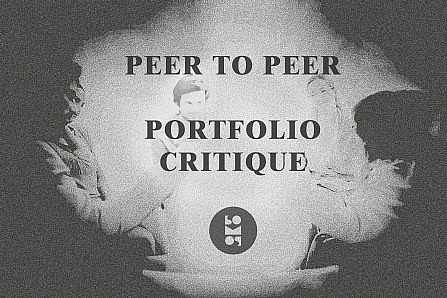 "Flyer for ""Peer to Peer Portfolio Critique"" at SomoS Art House, Berlin, picturing in B&W a circle of people centered around a magical light."