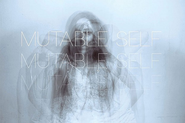 Mutable Self exhibition flyer, showing multiple exposures of a young woman, hand on hips, based on a photograph by Stefanie Wolff