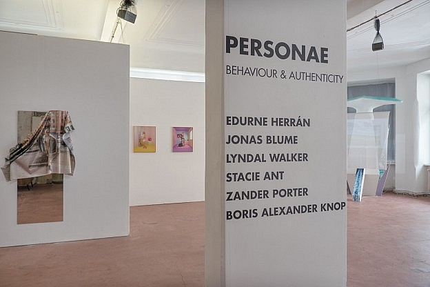 View in the Personae exhibition at SomoS Art House, with digital paintings, video installations.