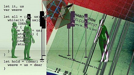 A layered collage of code and figures in the flyer for Selcuk Artut's upcoming show.