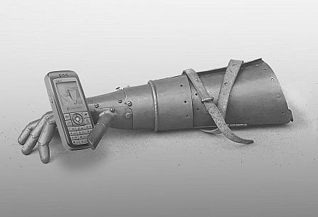 A medieval metal arm prosthesis holding an early mobile phone, a photomontage kept in greytones..