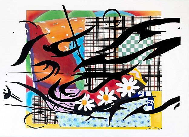 Bright semi-abstract painting by Christie MacDonald showing influences of Matisse and Digitalism.