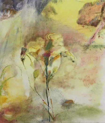 Tender flower painting on yellow hues.
