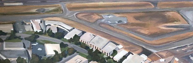 Areal painting of San Leandro Airportscape.