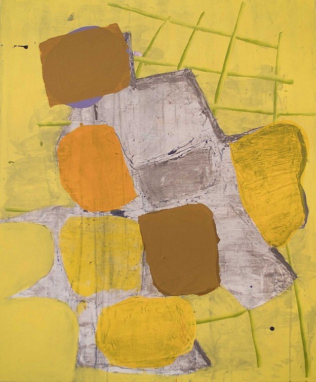 Painting by Jameson Grant, an abstraction of Berlin cobblestones in yellow and orange.