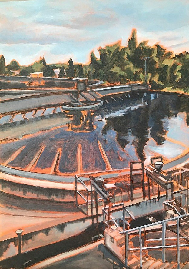 Painting of a water clarifying pond.