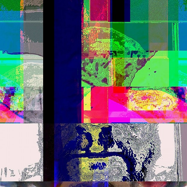 Glitched abstract media art video still, from Apparatus' Memories.