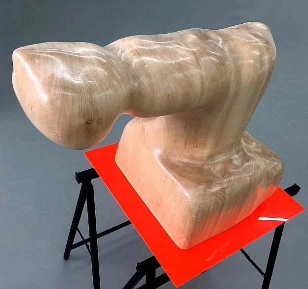 Touch-inviting smooth wooden sculpture by Amir Chasson presented on working table.