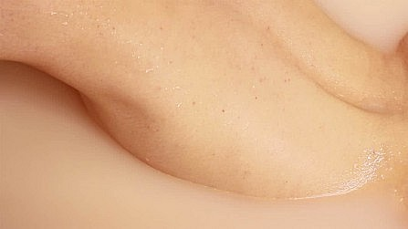 A close up of sweaty soft skin in M.Poletti's installation at the Un_Real Desires exhibition.