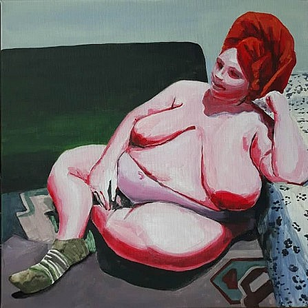 Painting of a nude heavy female, content and at rest in domestic setting from the Un_Real Desires exhibition.