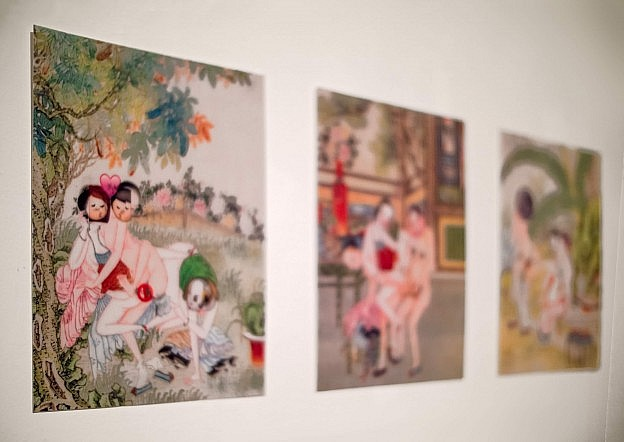 Lenticular prints by Mu Zhang using historic Chinese Spring Palace imagery of a group of persons having sex to discuss online censorship.