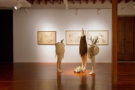 Surrealist chimera-like sculptures by Iria do Castelo in a well-lit gallery space.