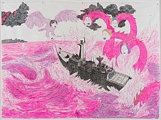 Female sea monsters in a large mixed media work on paper by Korean feminist artist Black Jaguar.