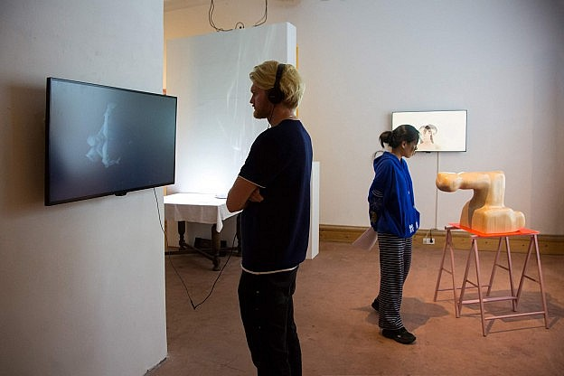 Visitors watching multimedia art works, among them pieces by Ana Brumat and Amir Chasson.
