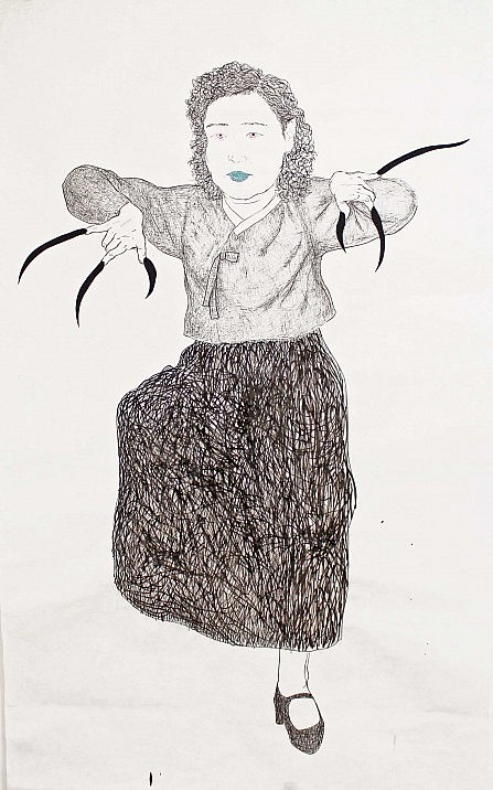 "Drawing titled ""Samdae - Jong-hee"" by Korean artist Black jaguar features a ""monstrous female"" with claws, standing on one leg."
