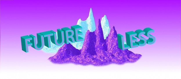 Science Fiction-like landscape with mountains in green and purple.