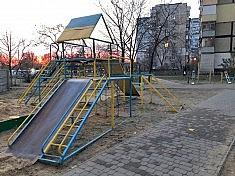 Ukrainian playground featuring nationalistic color scheme photographed by Daniil Galkin.