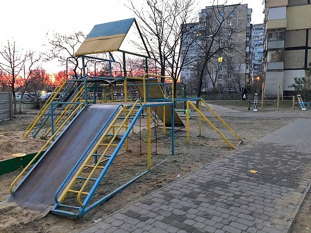 Ukrainian playground featuring nationalistic color scheme photographed by Daniil Galkin.
