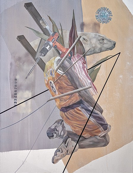 2020 Meme Painting by Jiyeon Kim features imagery of a polar bear, Kobe Bryant and coronavirus.