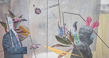 """Coronavirus related imagery in one of Jiyeon Kim's """"Meme Paintings."""""""