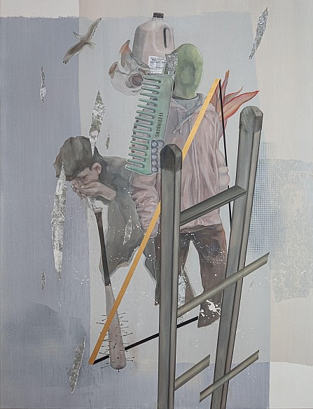 Painting by Korean artist Jiyeon Kim featuring Greta Thunberg, a ladder, drinking youth, plastic bottles and other items referencing environmental topics and activism.
